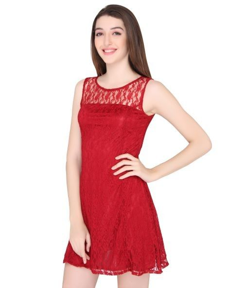 Elegant Red Polyester Skater Dress - $27