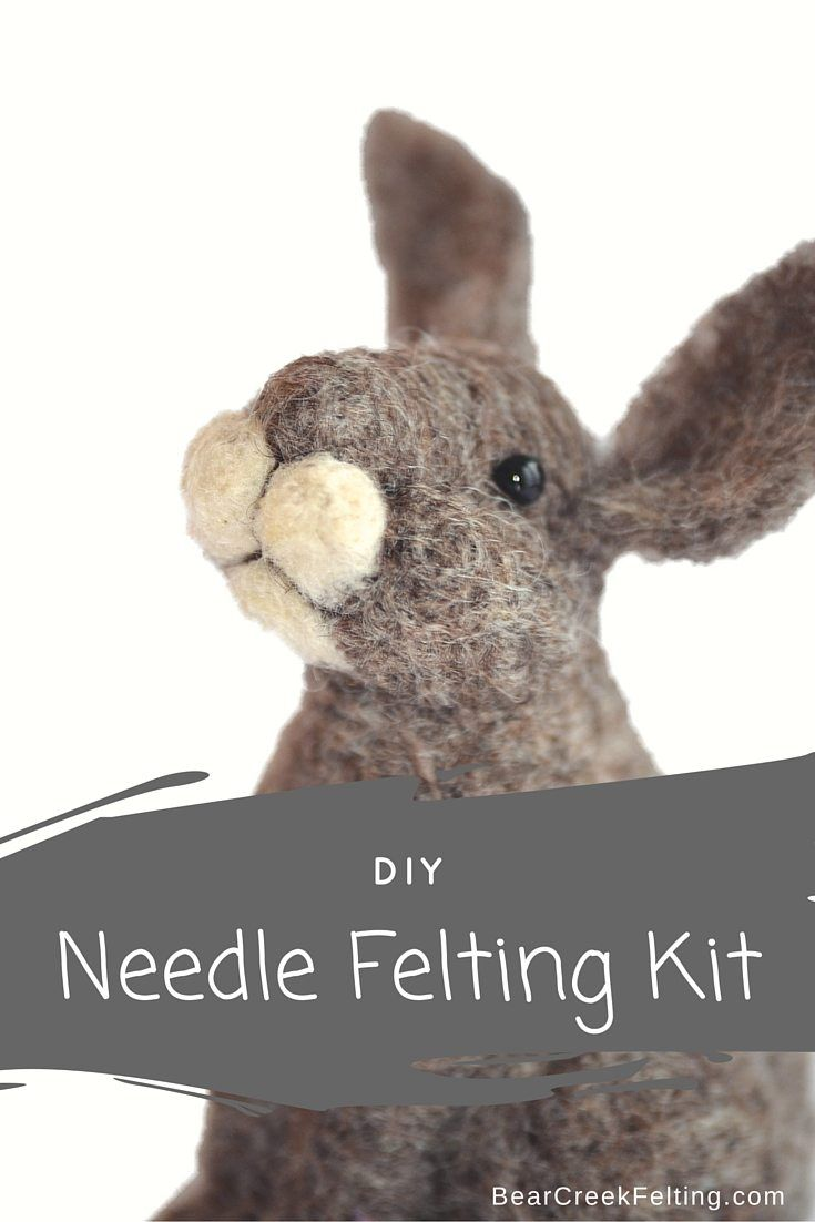 Bunny Needle Felting Kit designed by Teresa Perleberg.  Everything you need to complete this bunny with detailed instructions.