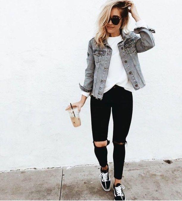 Lässige Outfits mit Denim-Jeans für College dies…
