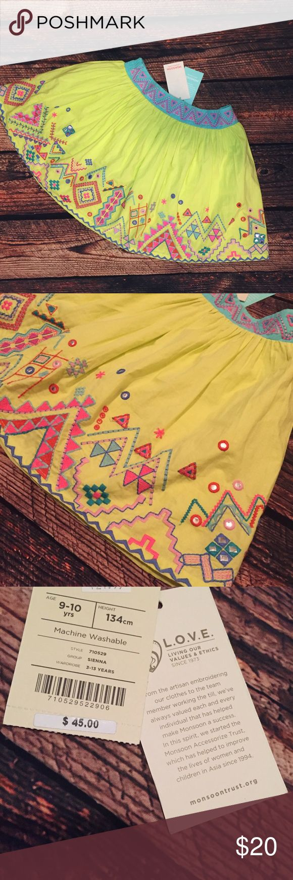 Monsoon Girls Skirt Brand new Monsoon skirt. Size 9-10 years. Beautiful embroidery and sparkles! No trades. Monsoon Bottoms Skirts