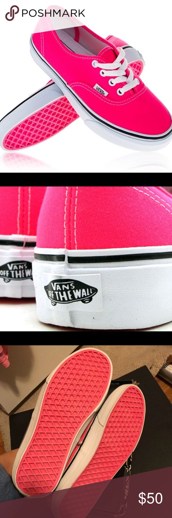 Sale!!Women sz 10 classic neon pink/white vans New with original box. Vans® Authentic™ shoe! Colored in neon pink/white.  Size women 10. Size men 8.5.   **Broken box ** Die-cut EVA insert for comfort. Vulcanized construction: • Slimmed-down profile offers a flexible feel. • Gum rubber outsole with signature waffle tread provides superior grip.  Retail :$65.00 Vans Shoes Athletic Shoes