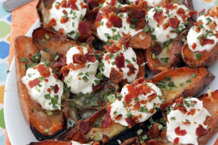 Bacon and Brie Sweet Potato Skins | Spuds | Pinterest