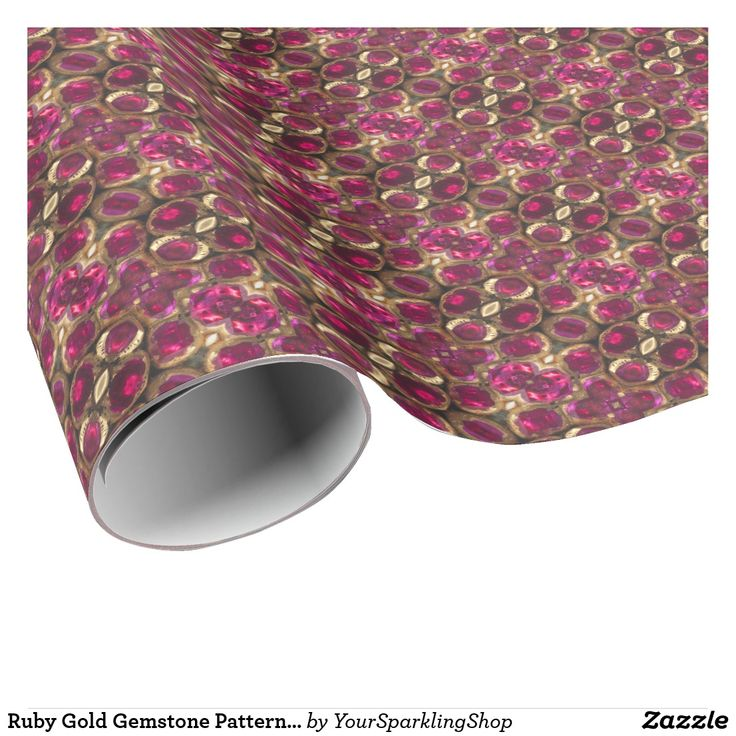 Ruby Gold Gemstone Pattern Elegant Chic Festive Wrapping Paper #christmasgifts #giftwrapping #ruby #gemstone
