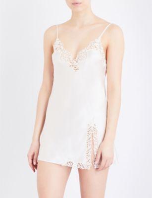 6df778decc LA PERLA Petit Macramé silk-satin slip dress