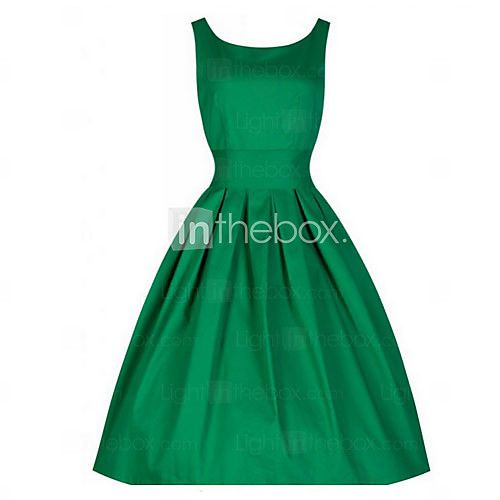 Women's Solid Color Dress,Vintage Round Neck Sleeveless - USD $13.99