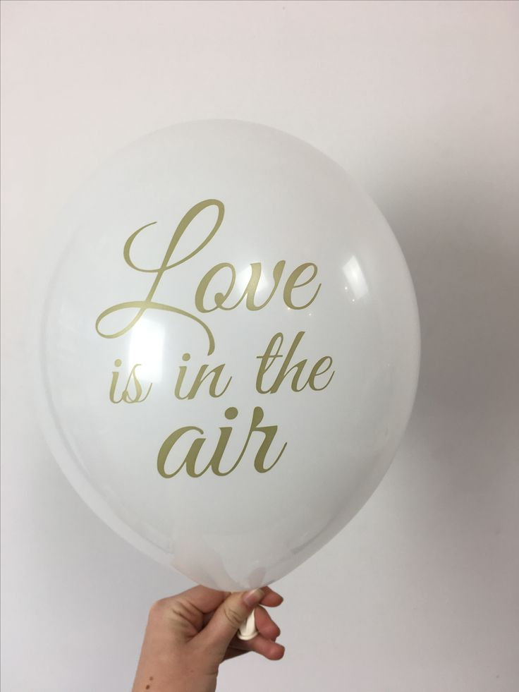 Love Is In The Air Custom Printed For A Wedding Gold Ink On White