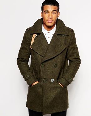 Mens pea coat green