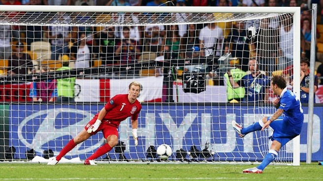 Alessandro Diamanti of Italy scores the winning penalty past Joe Hart of England.