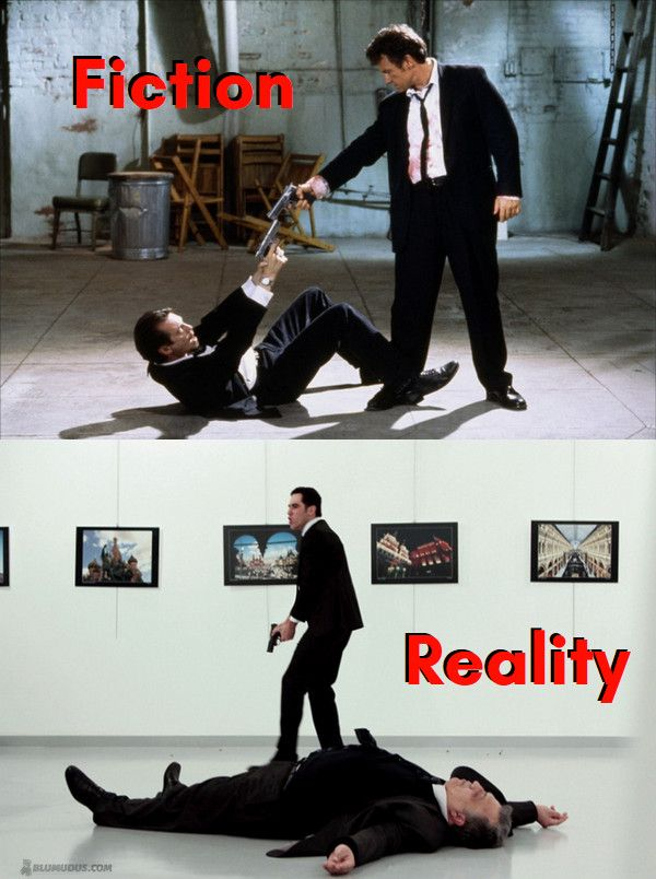 similaritier between fiction (Reservoir Dogs scene) and reality (Istanbul terror attack)