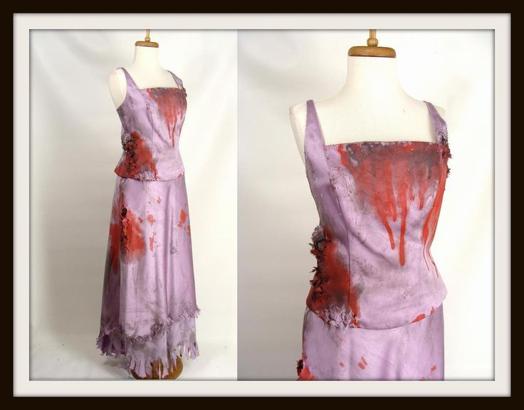 TEMPORARILY REDUCED was 94.00 Custom Made 3pc Purple Bloody Formal Gown ZOmbie Prom Queen Dress Halloween Costume size 10 M by wardrobetheglobe on Etsy