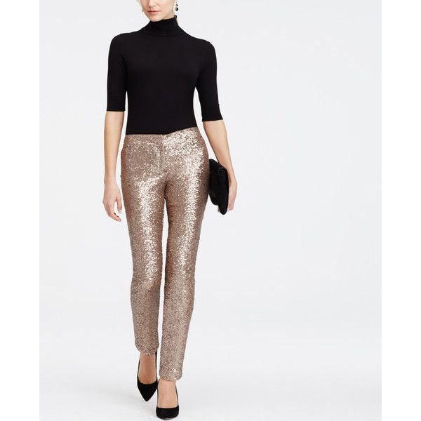 Ann Taylor Petite Sequin Ankle Pants ($119) ❤ liked on Polyvore featuring pants, capris, gold, gold sequin pants, gold pants, short pants, slim fit pants and petite white pants