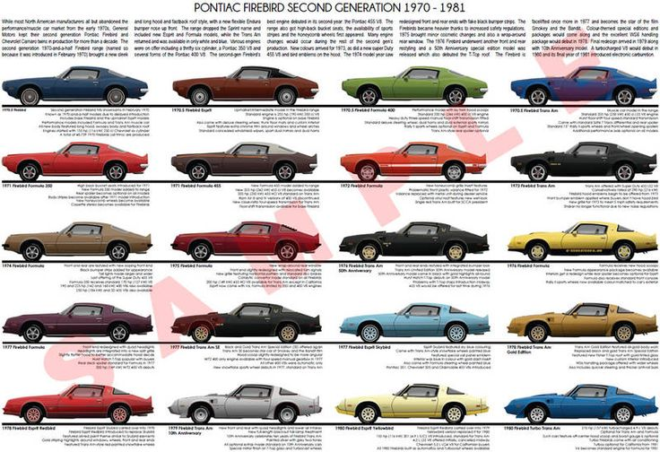 Pontiac Firebird 1970 - 1981 second generation model chart ...