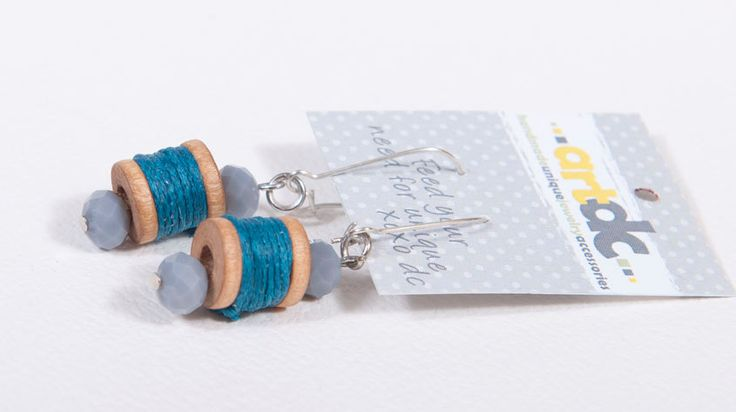 Charming wooden bobbin earrings with blue thead and ligh purple beads by artdcbydc on Etsy