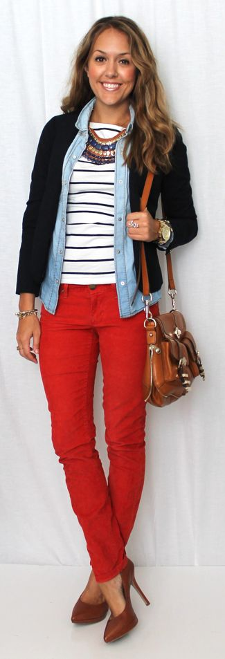Fun idea: wearing chambray top as open layer between a striped tee shirt and navy blazer