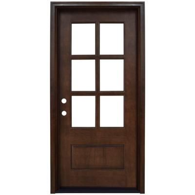 Savannah Right-Hand 6 Lite Clear Stained Mahogany Wood Prehung Front Door  sc 1 st  Pinterest & 25 best Front Doors images on Pinterest | Entrance doors Front ...