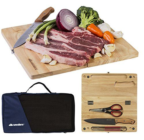 Wealers Camping Cutting Board Travel Set - For outdoor picnics, BBQ, Hiking - Portable 5 Piece Pack includes Folding Wood Chopping Block  Chef Knife  Kitchen Scissors  Cooking Tongs  Tote Bag