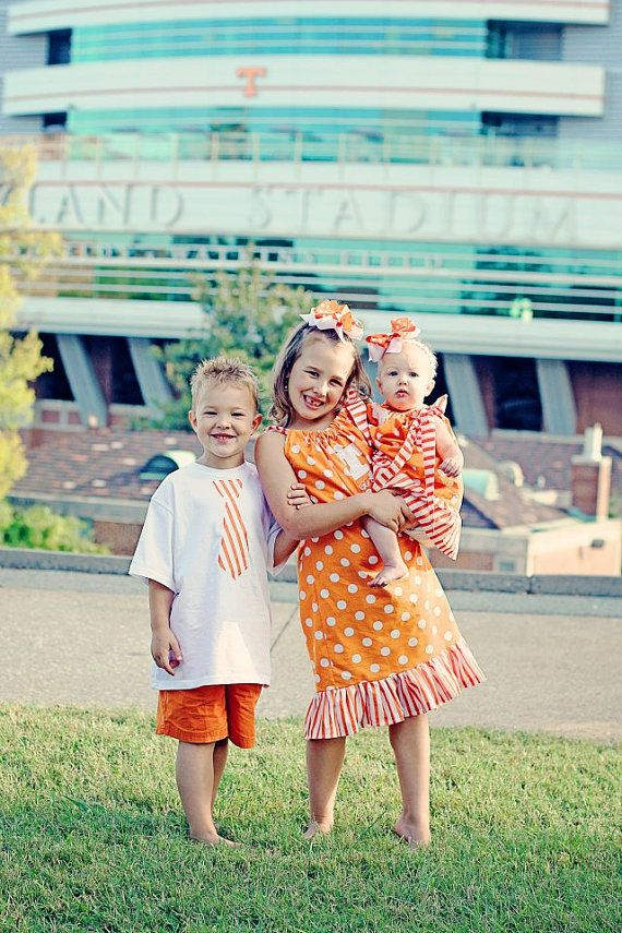 University of Tennessee...Tennessee Girl Pillowcase Dress and Matching Hairbow...Game Day Outfit/Great For Pictures