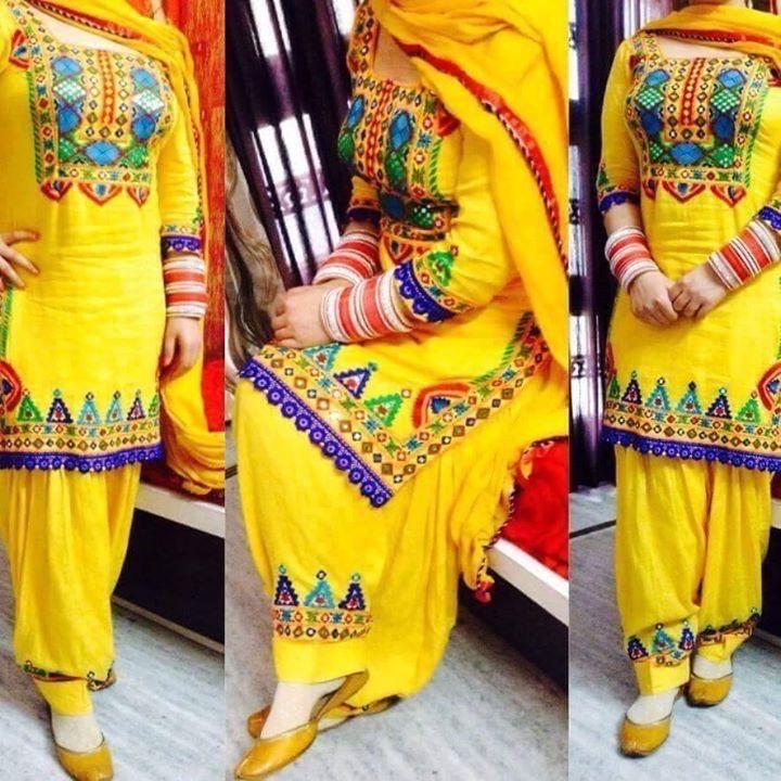 Navratri yellow patyala suit