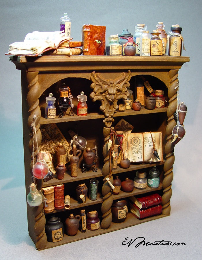 Gothic Potion Cabinet in Miniature by Ericka VanHorn of EVMiniatures