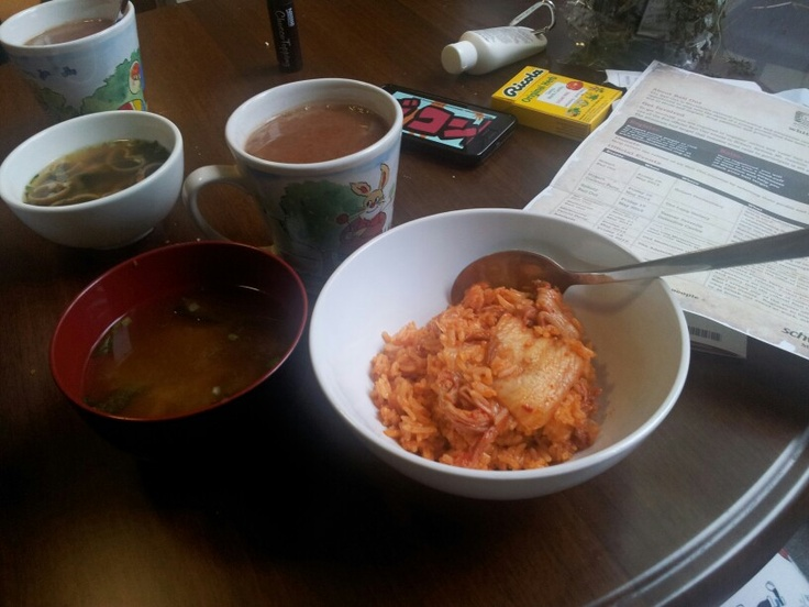 Kimchi fried rice and miso soup for breakfast.
