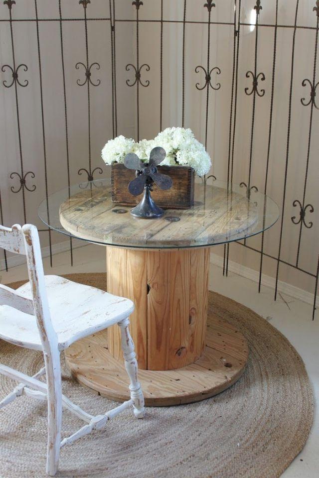 holz kabeltrommel tisch glasplatte strau aus wei en. Black Bedroom Furniture Sets. Home Design Ideas