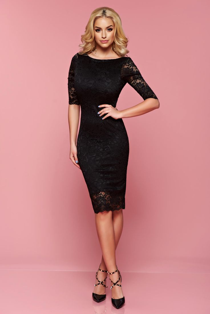 StarShinerS Dream Elegancy Black Dress, back zipper fastening, 3/4 sleeves, inside lining, laced fabric, elastic fabric