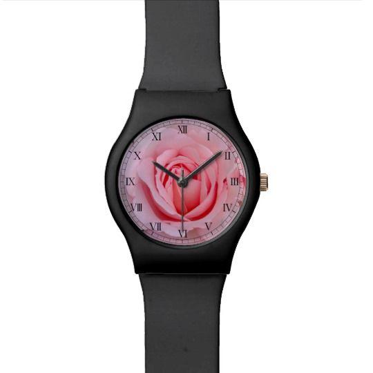 Dreamy Rose Watch by www.zazzle.com/htgraphicdesigner* #zazzle #gift #giftidea #wrist #watch #wristwatch #woman #pink #rose #black
