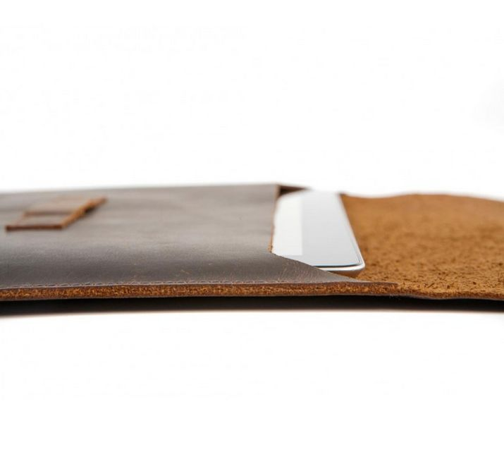 Hunter dark leather envelope availabe for both iPad as well as iPad mini. Price: $70-80. More information: www.dbramante1928.com