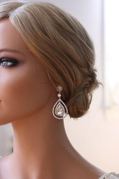 nice Items similar to Bridal Crystal Earrings, Art Deco Earrings, Bridal Accessories, Bridal Jewelry, Rhinestones Earrings,  - KRISTEN on Etsy