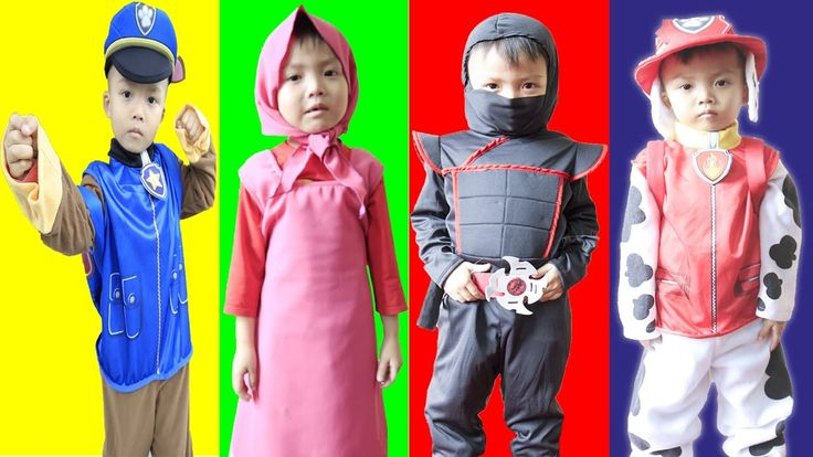 Masha Turn into Paw Patrol Chase, Ninja Go & Marshall w/Spiderman , Rapu...