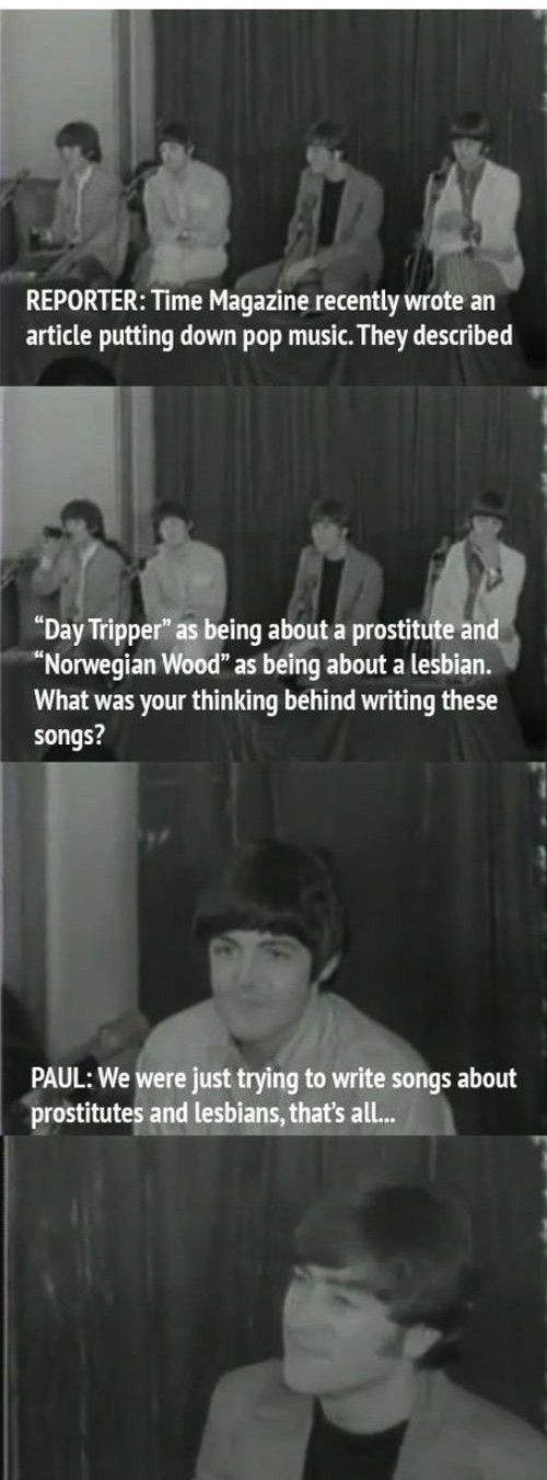 When they were asked to describe the meaning of their lyrics, Beatles replied