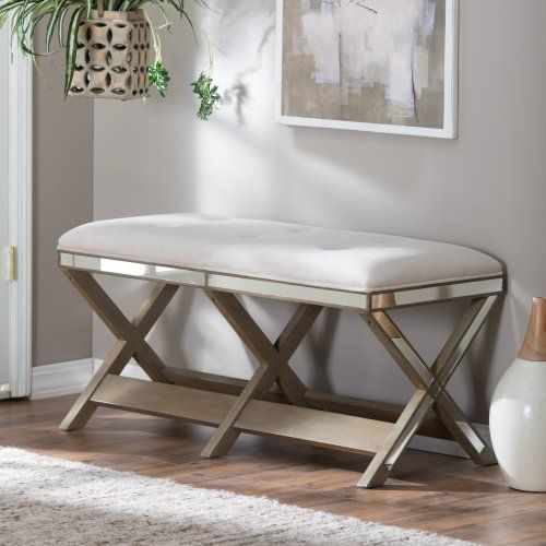 Belham Living Glam Upholstered Bench with Mirrored Frame - Bedroom Benches at Hayneedle