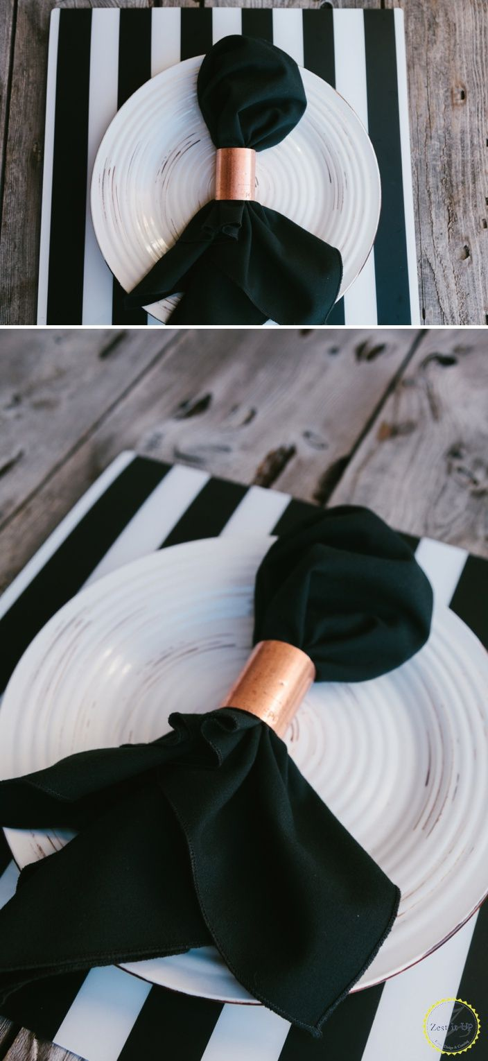 Love the black and white stripes and the copper accent in the napkin ring. zestitup.com