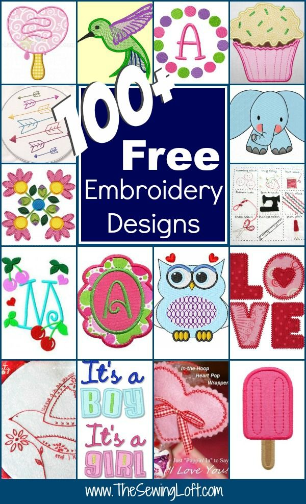 Keep your creative juices flowing with over 100 free embroidery designs rounded up in one place. Everything from hand embroidery to machine applique.: