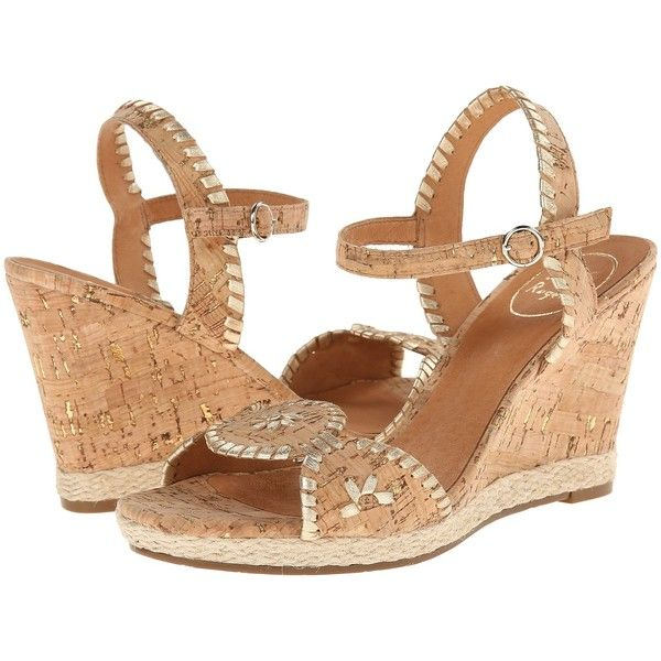 Jack Rogers Clare Rope Wedge Women's Wedge Shoes, Gold ($90) ❤ liked on Polyvore featuring shoes, sandals, gold, jack rogers shoes, platform wedge shoes, platform shoes, gold shoes e rope sandals