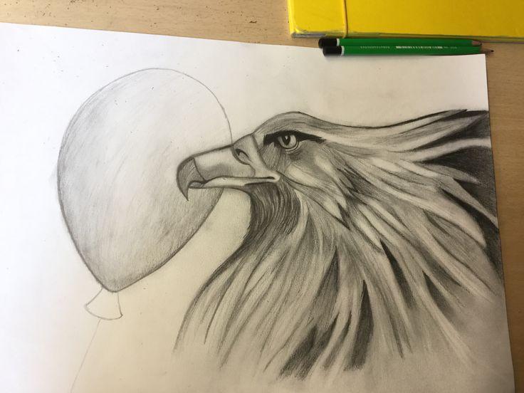 Deze les heb ik de accenten op de adelaar afgerond, ik ben begonnen aan de ballon de volgende les ga ik die afmaken en misschien nog iets anders op de achtergrond verzinnen. Deze les ging het heel goed om accenten toe te passen