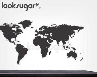 Monde carte murale Sticker autocollant avec pointeurs par Wallboss