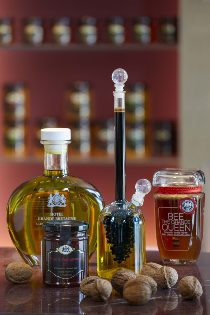 An exclusive selection of local flavors & tastes, branded by Hotel Grande Bretagne, including Greek Honey, Homemade Marmalade, Balsamic Vinegar and Olive Oil.