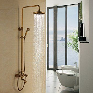 """Lightinthebox Bathroom Shower System 8"""" Fixed Round Shower Head and Handheld Shower Head Combo Shower System Antique Inspired Solid Brass Shower Set with Shower Arm Bronze Wall Mount Roman Mixer Taps Unique Designer Cheap Shower Faucets"""