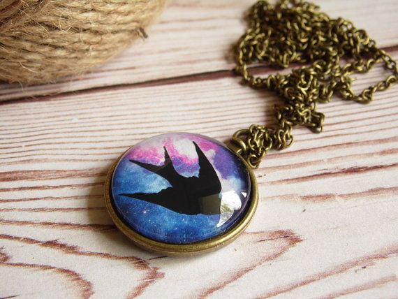 Bird hipster necklace, galaxy necklace, bird pendant, glass dome jewelry, vintage necklace, universe pendant, starry night, christmas gift