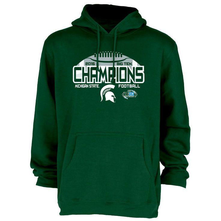 Michigan State Spartans Blue 84 2015 Big Ten Conference Football Champions Locker Room Pullover Hoodie - Green - $29.44