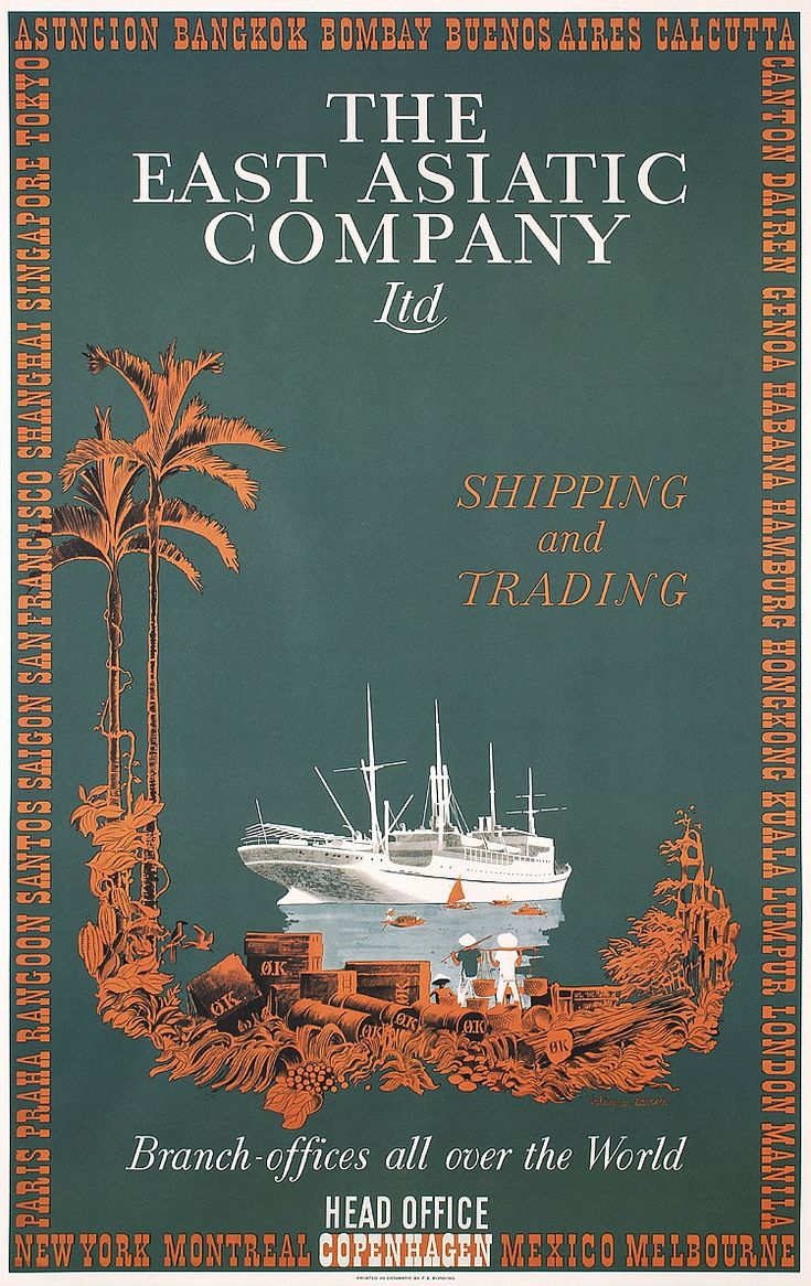 Lot 407: Original 1930s East Asiatic Shipping Travel Poster - PosterConnection Inc. | AuctionZip