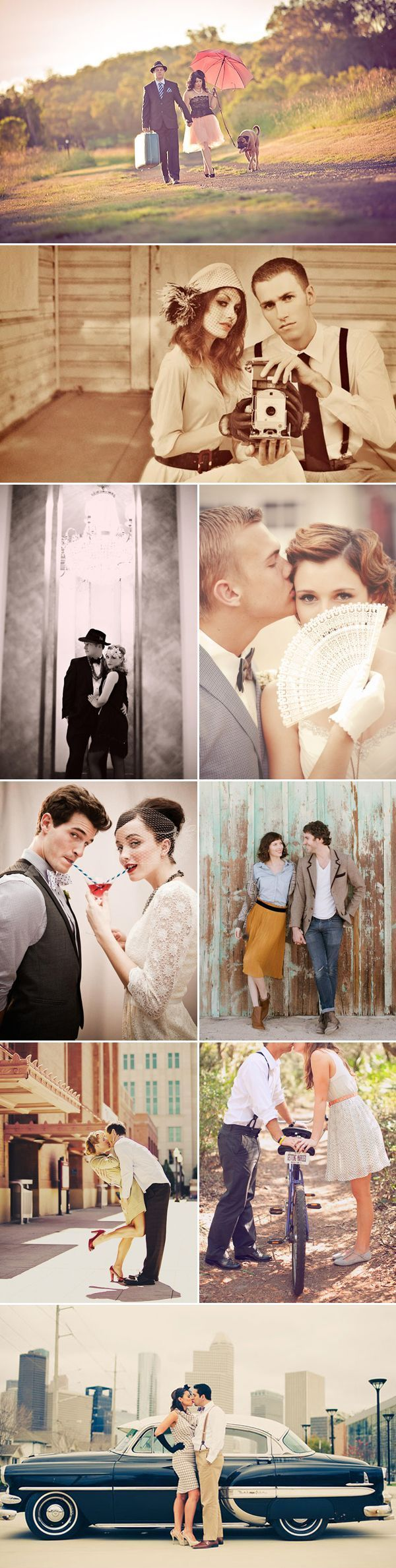These ideas for vintage engagement photos are too cute.