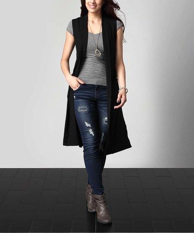 Look what I found on #zulily! Black Sleeveless Pocket Cardigan - Plus #zulilyfinds