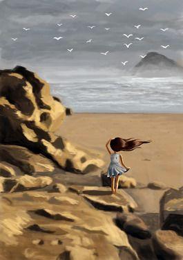 """Saatchi Online Artist Indrė Bankauskaitė; Digital, """"Rocky Beach"""" #art"""
