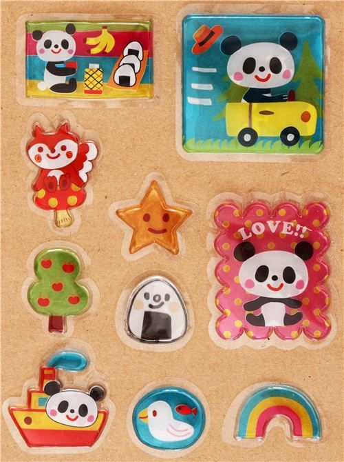 kawaii panda bear boat sticker sack 3D flake stickers