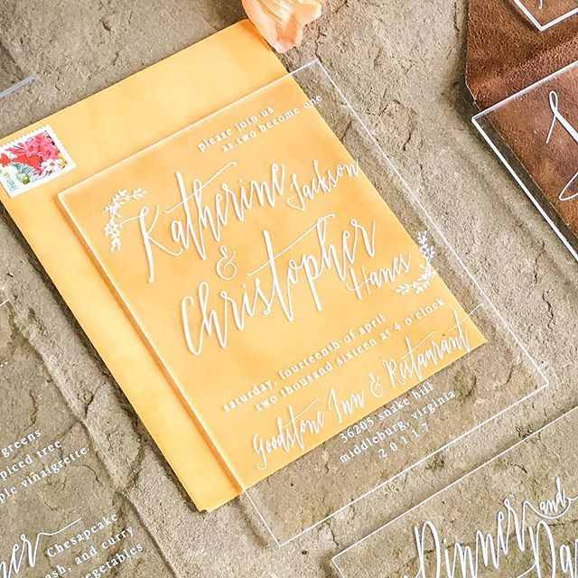 Acrylic Invitation + Velvet Envelope by With Wild and Grace