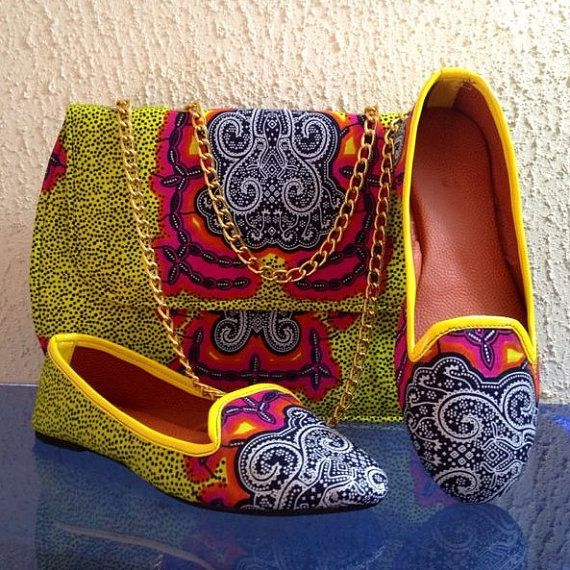These shoe set is made with African print fabric. We now have them in stock This bag is uniquely made to fit every occasion designs. the bag