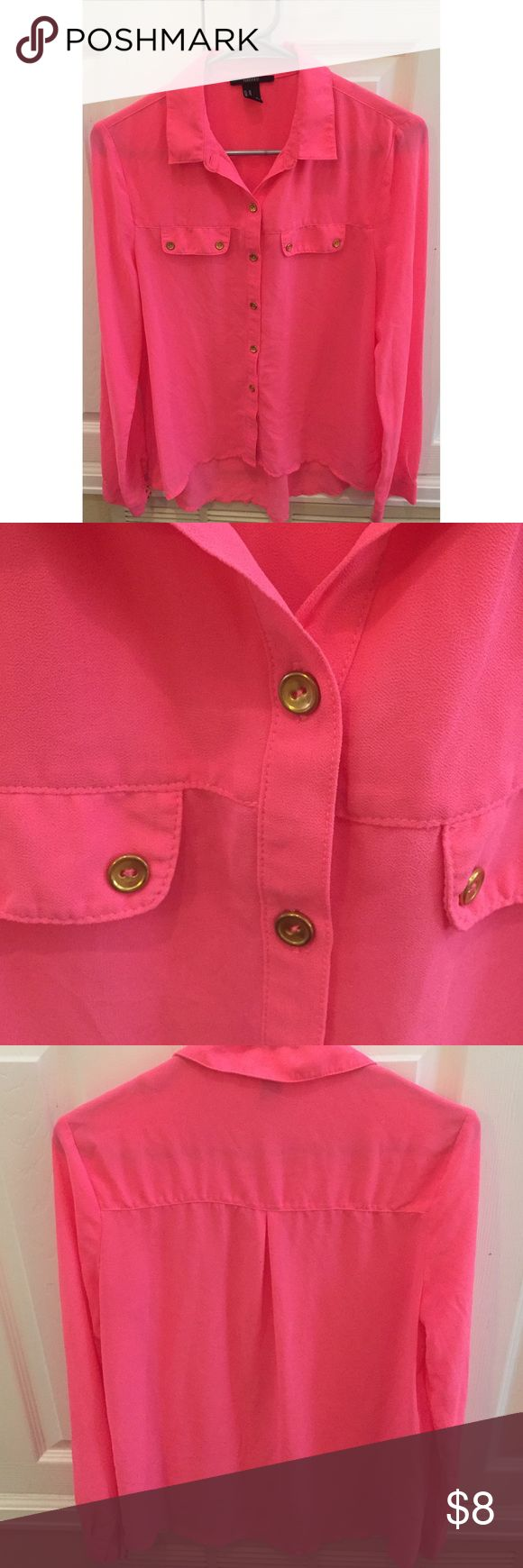 Hot pink button-down hi-low top. Very cute hot hot pink top. Slightly lower in the back. Only worn twice! Still is great shape, no stains or tears. Forever 21 Tops Button Down Shirts