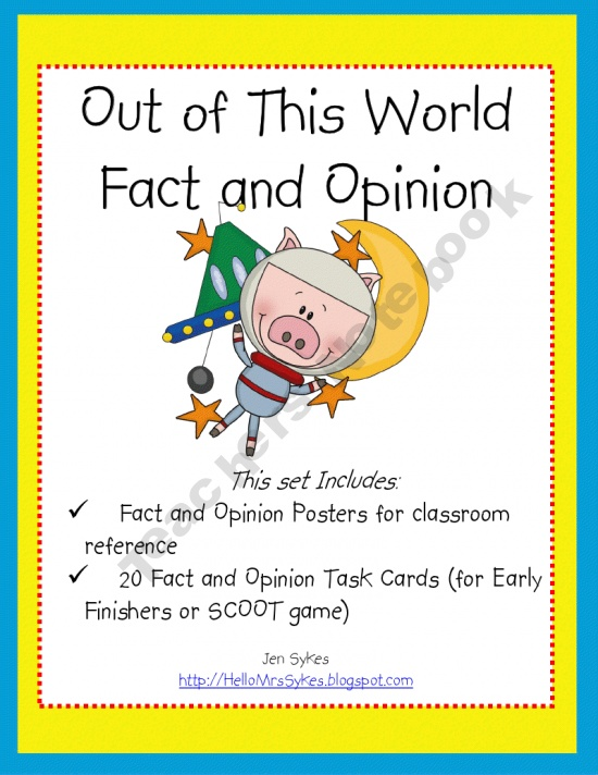 Out of This World Fact and Opinion - Posters, Task Cards, and Game